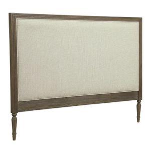 Tête de lit 160 en chêne naturel fumé et tissu Ficelle - Domaine - Visuel n°2