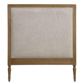 Tête de lit 90 en chêne naturel fumé et tissu mastic grisé - Domaine
