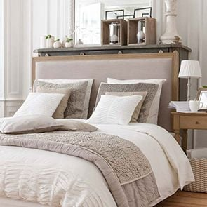 Tête de lit 180 en chêne massif et tissu - Mathilde