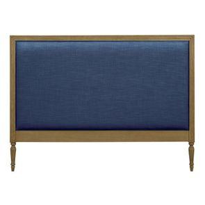 Tête de lit 180 en tissu bleu et chêne massif - Mathilde