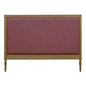 Tête de lit 180 en tissu rose et chêne massif - Mathilde