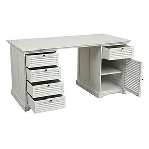 Bureau blanc avec tiroirs en épicéa massif - Vénitiennes - Visuel n°4