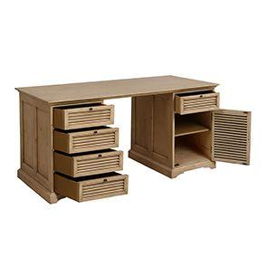 Bureau avec tiroirs en épicéa massif - Vénitiennes - Visuel n°2