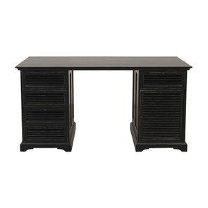 Bureau noir avec tiroirs en épicéa massif - Vénitiennes - Visuel n°1