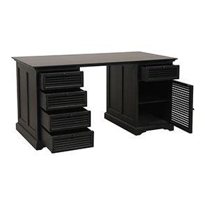Bureau noir avec tiroirs en épicéa massif - Vénitiennes - Visuel n°6