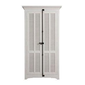 Armoire penderie blanche 2 portes en épicéa massif - Vénitiennes
