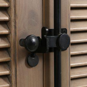 Armoire penderie noire 2 portes en épicéa massif brun fumé - Vénitiennes - Visuel n°11