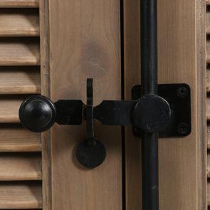Armoire penderie noire 2 portes en épicéa massif brun fumé - Vénitiennes - Visuel n°12
