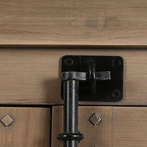 Armoire penderie noire 2 portes en épicéa massif brun fumé - Vénitiennes - Visuel n°14