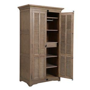 Armoire penderie noire 2 portes en épicéa massif brun fumé - Vénitiennes - Visuel n°4