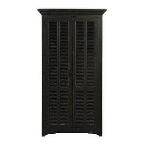 Armoire penderie noire 2 portes en épicéa massif - Vénitiennes