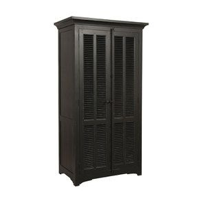 Armoire penderie noire 2 portes en épicéa massif - Vénitiennes - Visuel n°4