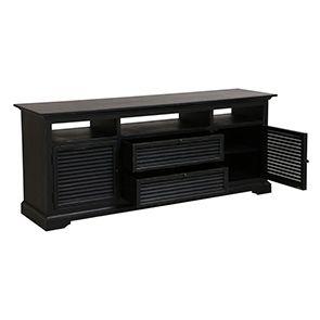 Meuble TV noir avec rangements en épicéa - Vénitiennes - Visuel n°2