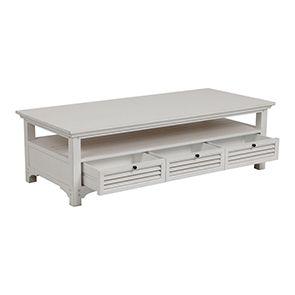 Table basse blanche rectangulaire en épicéa massif - Vénitiennes - Visuel n°4