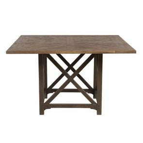 Table carrée brun fumé en épicéa 8 personnes - Vénitiennes