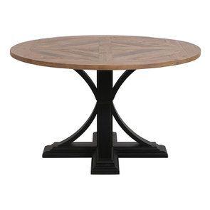 Table ronde noire en épicéa massif 4 à 6 personnes - Vénitiennes