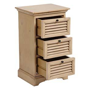 Table de chevet en épicéa massif 3 tiroirs - Vénitiennes - Visuel n°2
