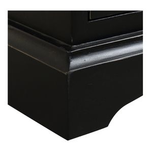 Table de chevet noire 3 tiroirs en épicéa - Vénitiennes