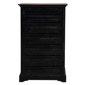 Commode chiffonnier 6 tiroirs noire en épicéa - Vénitiennes