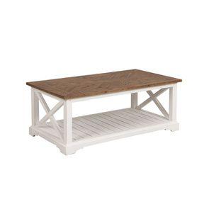 Table basse rectangulaire blanche en épicéa massif - Vénitiennes - Visuel n°5
