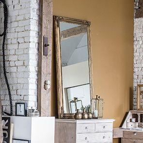 Grand miroir rectangulaire doré en pin massif - Couture - Visuel n°2