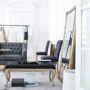 Grand miroir rectangulaire doré en pin massif - Couture - Visuel n°3
