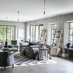 Bout de canapé contemporain en acacia et béton - Horizon - Visuel n°2