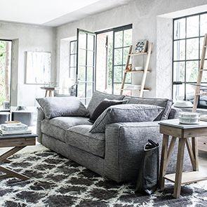 Bout de canapé contemporain en acacia et béton - Horizon - Visuel n°4