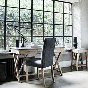 Bureau avec tiroirs en acacia et béton - Horizon - Visuel n°3