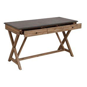 Bureau avec tiroirs en acacia et béton - Horizon - Visuel n°4