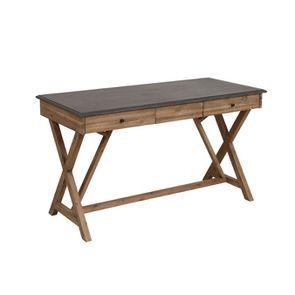 Bureau avec tiroirs en acacia et béton - Horizon - Visuel n°5