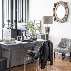 Bureau en bois gris 1 tiroir - Maine - Visuel n°2