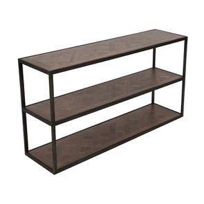 Console industrielle 3 plateaux en bois recyclé - Loft - Visuel n°3