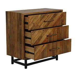 Commode industrielle 3 tiroirs en bois recyclé - Empreintes - Visuel n°3