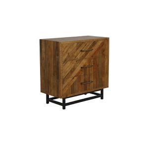 Commode industrielle 3 tiroirs en bois recyclé - Empreintes - Visuel n°4