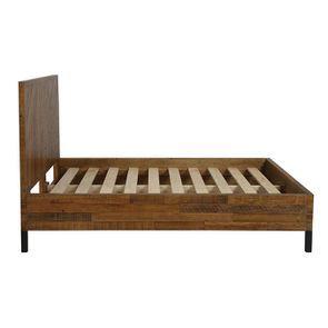 Lit industriel 140x190 en bois recyclé - Empreintes