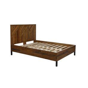Lit industriel 140x190 en bois recyclé - Empreintes - Visuel n°3