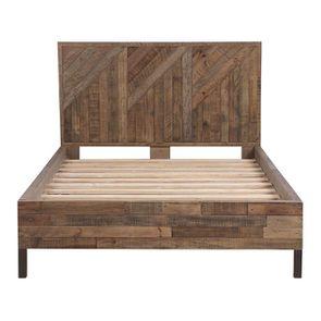 Lit industriel 140x190 en bois recyclé naturel grisé - Empreintes - Visuel n°5