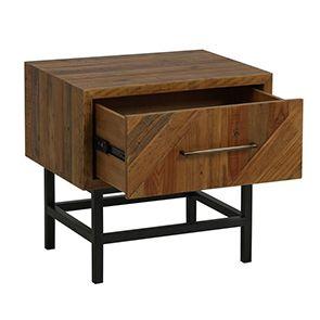 Table de chevet industrielle en bois recyclé - Empreintes - Visuel n°3