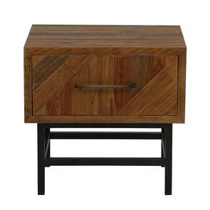 Table de chevet industrielle en bois recyclé - Empreintes - Visuel n°1