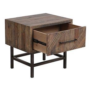 Table de chevet industrielle en bois recyclé naturel grisé - Empreintes - Visuel n°5