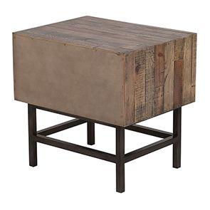 Table de chevet industrielle en bois recyclé naturel grisé - Empreintes - Visuel n°8