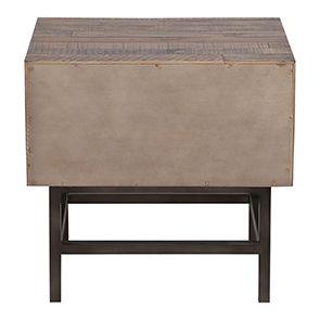 Table de chevet industrielle en bois recyclé naturel grisé - Empreintes - Visuel n°9
