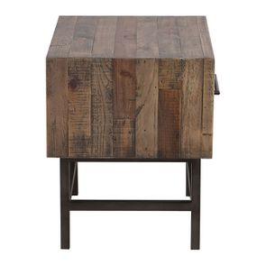 Table de chevet industrielle en bois recyclé naturel grisé - Empreintes - Visuel n°6