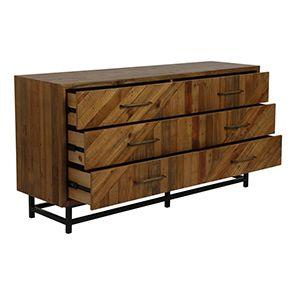 Commode industrielle 6 tiroirs en bois recyclé - Empreintes - Visuel n°3
