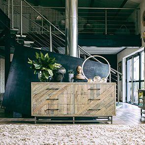 Commode double industrielle en bois recyclé naturel grisé - Empreintes - Visuel n°2