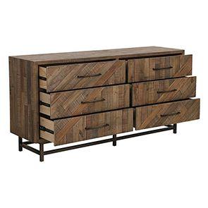 Commode double industrielle en bois recyclé naturel grisé - Empreintes - Visuel n°4