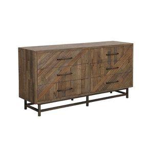 Commode double industrielle en bois recyclé naturel grisé - Empreintes - Visuel n°5