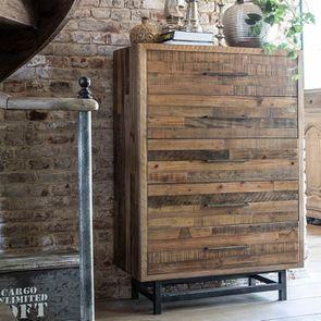 Commode chiffonnier industrielle en bois recyclé - Empreintes - Visuel n°3