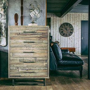 Commode semainier industrielle en bois recyclé naturel grisé - Empreintes - Visuel n°3